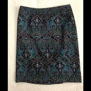 Talbots Paisley Lined Skirt
